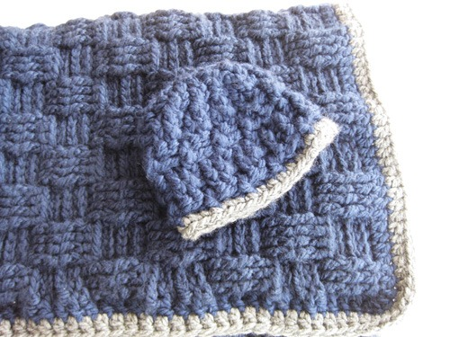 Basketweave Baby Blanket And Hat Kickin Crochet
