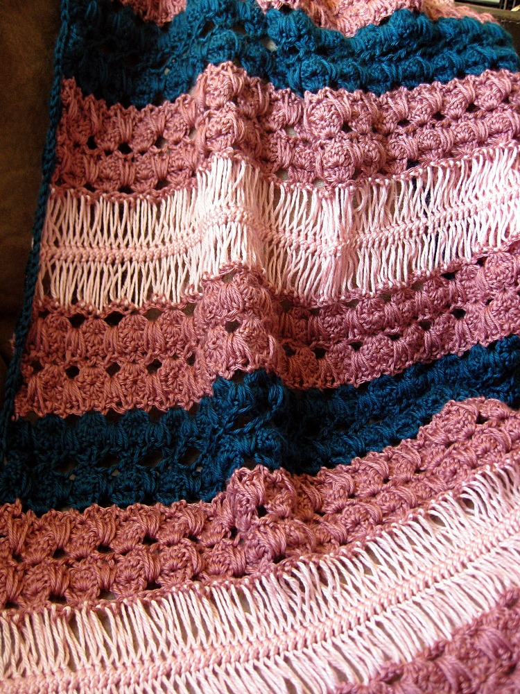 Allison Hairpin Lace Baby Blanket And Scarf Set Kickin