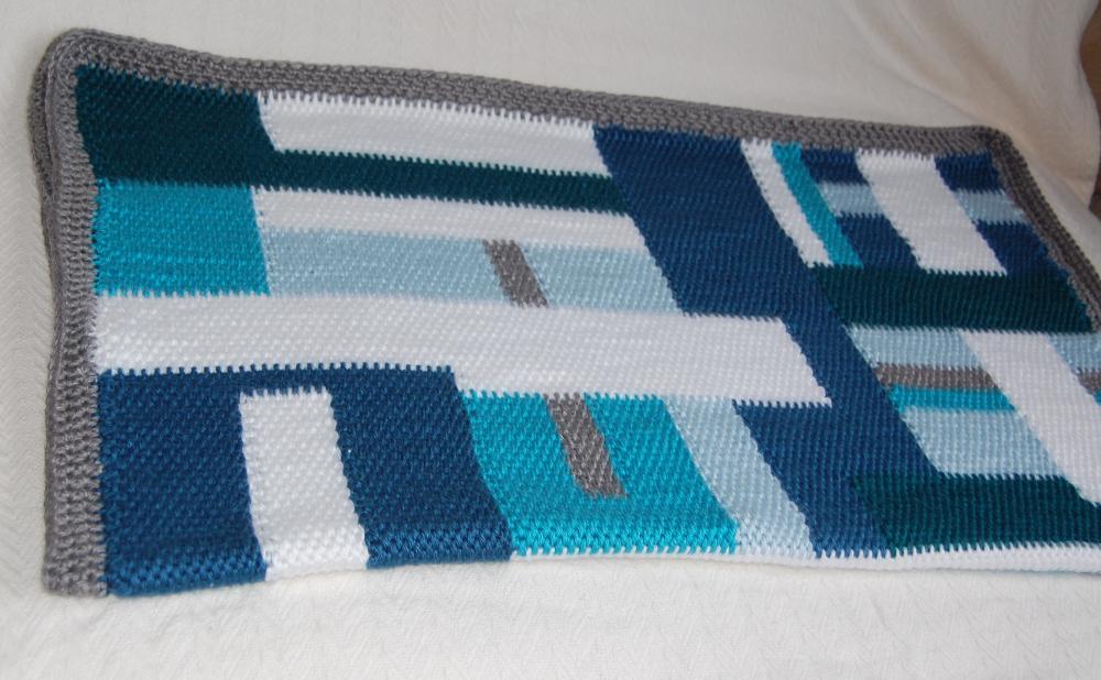 Geometric Patchwork Tunisian Baby Blanket Kickin Crochet